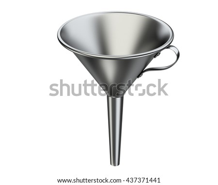 Laboratory metallic funnel. 3D illustration isolated on white background