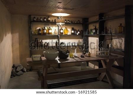 laboratory of old alchemist -inside view - stock photo
