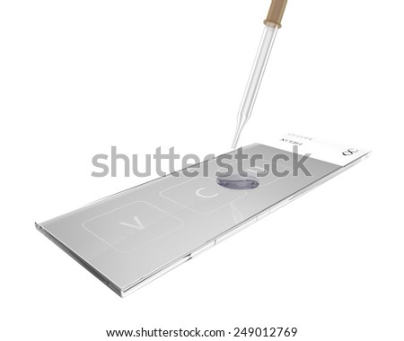 Laboratory slide glass with gynecological smear and eyedropper - stock photo