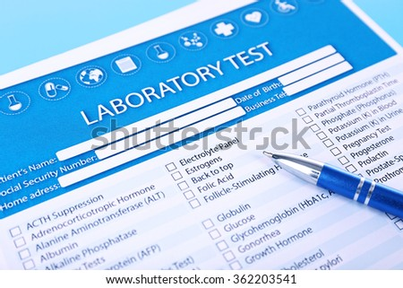 Laboratory test list with pen on blue background, close up - stock photo