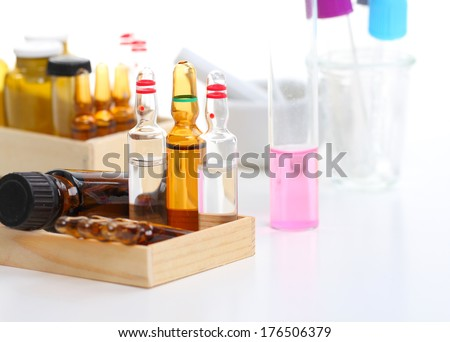 Laboratory, test tubes and ampoules  - stock photo