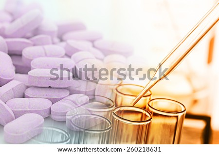 laboratory test tubes and drug - stock photo