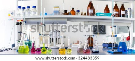 laboratory test tubes and flasks - stock photo