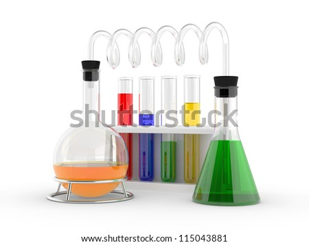laboratory test tubes with reagents on a white - stock photo