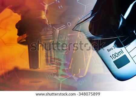 Laboratory tools. Chemical background. - stock photo
