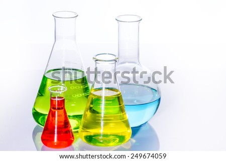 Laboratory  with liquids of different colors - stock photo