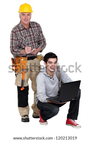 Laborer and young student - stock photo