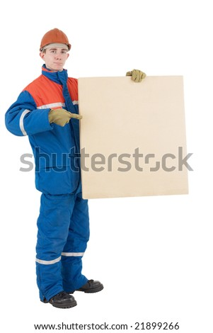 Laborer in helmet with box on a white background