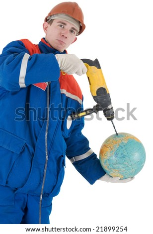 Laborer in helmet with drill and globe on a white background