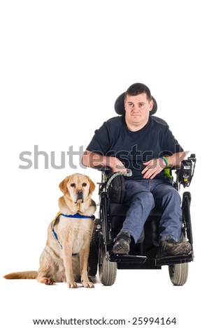 Labrador guide dog and his proud owner - stock photo