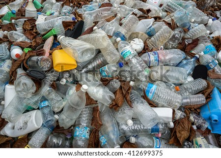 Labuan,Malaysia-April 28,2016:Plastic bottles waste from household. Large heap of plastic bottles and containers for recycling. - stock photo