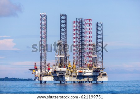 Labuan,Malaysia-Mac 25,2017:View of of the lay up drilling jackup rigs in Labuan waters in the Brunei Bay area at Labuan island,Malaysia on 25th March 2017.