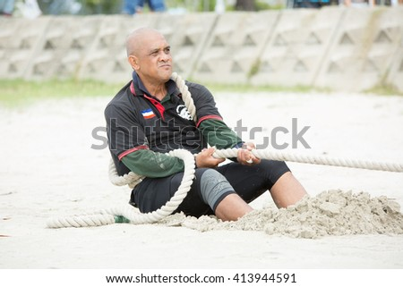 Labuan,Malaysia-Mei 1,2016:Labuan International Sea Challenge 2016, competition was tug a war in the beach.