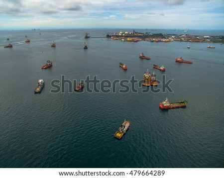 Labuan,Malaysia-Sept 7,2016:Aerial view of the supply vessels transporting cargo at Labuan,strategically located in the hub of Asia-Pacific & the ASEAN offshore oil exploration and production region.