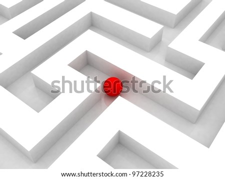Labyrinth and red  ball, 3D images - stock photo