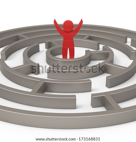 Labyrinth and the winner of a concept - stock photo