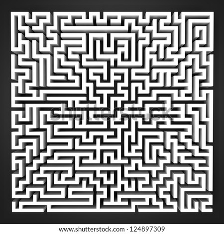 labyrinth black and white perspective upper view illustration - stock photo