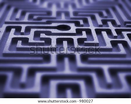 Labyrinth - blue texture - stock photo