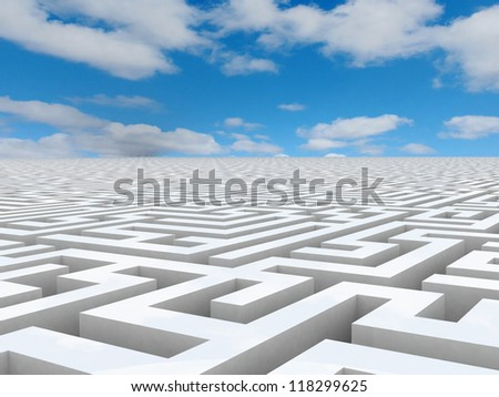 Labyrinth 3D white - stock photo