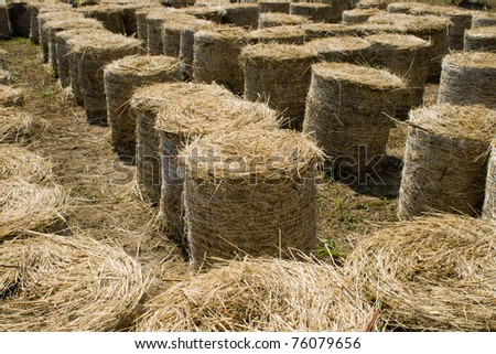 Labyrinth for children made from dry straw bales - stock photo