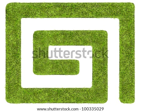 Labyrinth formed from beautiful grass shot from above on white - stock photo