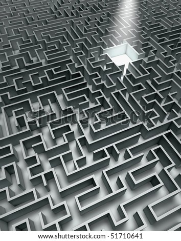 Labyrinth in grey with shades and sunbeam - stock photo