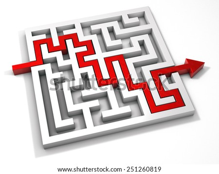 labyrinth maze 3d red - stock photo