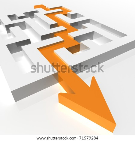 labyrinth of transparent blocks through which the orange arrow. 3d computer modeling - stock photo