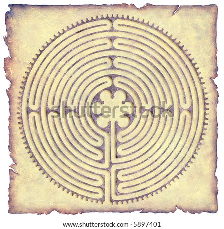 Labyrinth on Parchment - stock photo