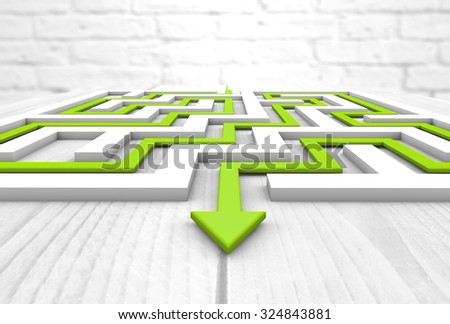 labyrinth render over wooden table - stock photo