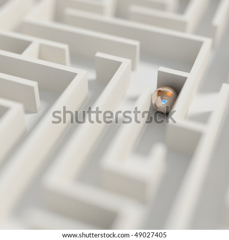 labyrinth render (photorealism) - stock photo