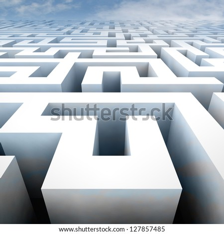 labyrinth structure in perspective blue sky view illustration - stock photo