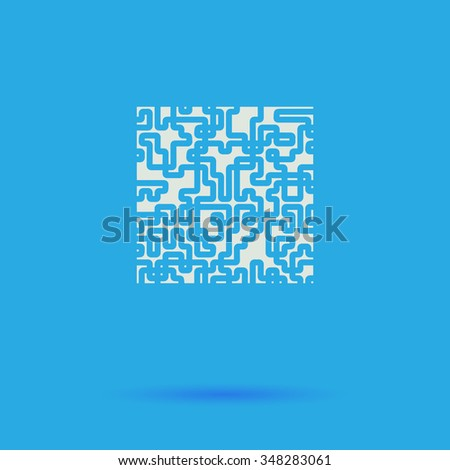 Labyrinth White flat simple pictogram on blue background with shadow  - stock photo