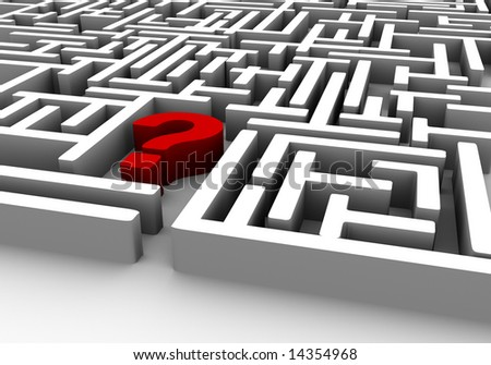 labyrinth with a red wall which is a question mark - stock photo