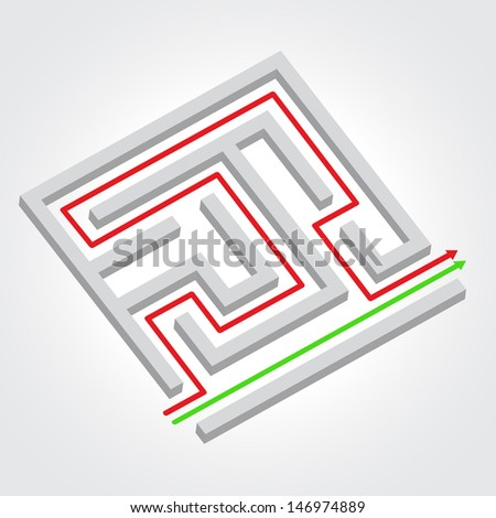 Labyrinth with arrow. Business concept. Raster version. Vector version available in my portfolio. - stock photo