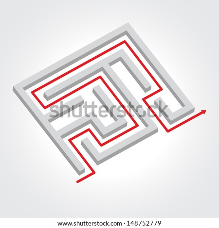 Labyrinth with arrow illustration. Business concept. Raster version. - stock photo