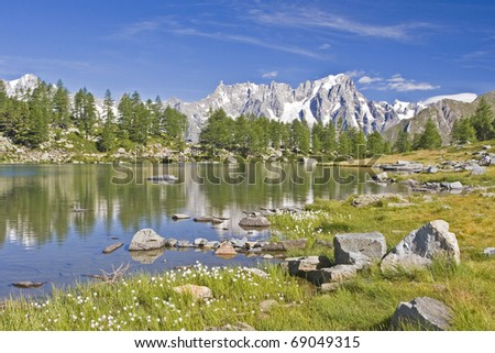 Lac d Arpy - small mountain lake in the upper area of the Aosta Valley