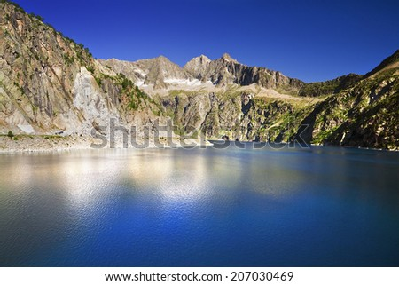 Lac de Cap de Long. Oredon. Natural Reserve of Neouvielle. Pyrenees. France. Europe. - stock photo