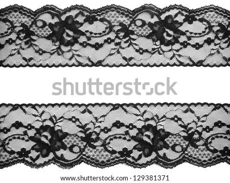 lace background, black on white - stock photo