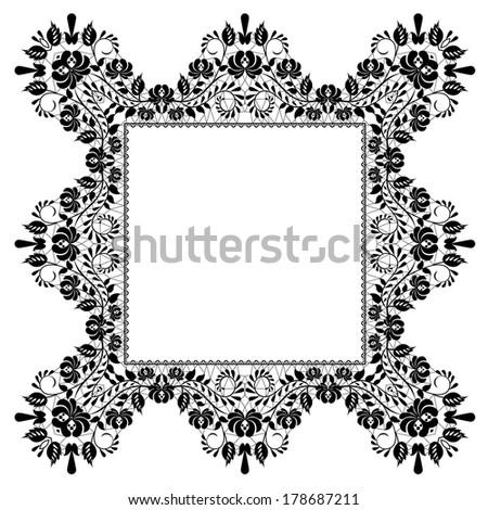 Lace beautiful black frame isolated on white - stock photo
