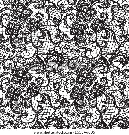 Lace black seamless pattern with flowers on white background - stock photo
