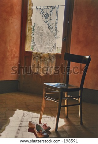 Lace curtain on window in Tuscany, Italy with a chair and shoes - stock photo