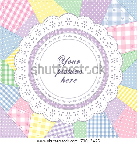 Lace Doily Frame, patchwork quilt, round eyelet, pastel gingham, polka dot fabric, applique embroidery. Copy space to customize with your favorite picture, text. For scrapbooks, albums, baby books.  - stock photo