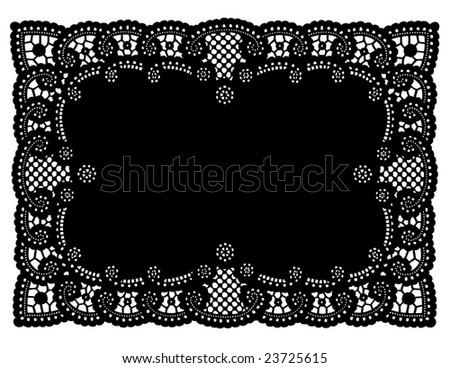 Lace Doily Place Mat. Antique scalloped border design, vintage pattern, black background for holidays, celebrations, setting table, scrapbooks, cake decorating, copy space.  - stock photo