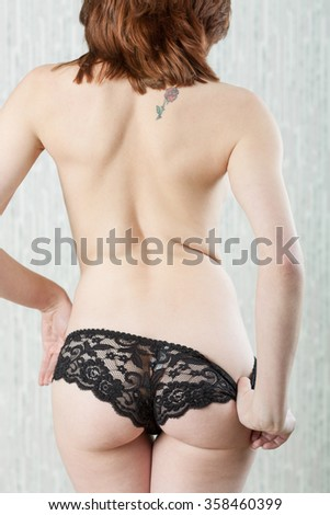 Lace panties backside - stock photo