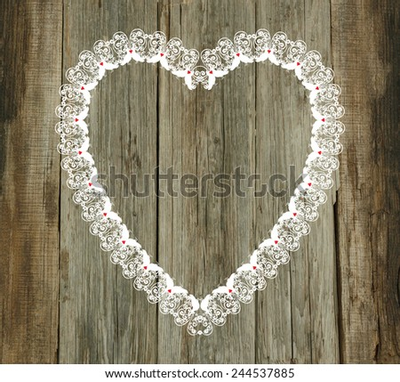 lace pattern wood old background valentines day wedding - stock photo