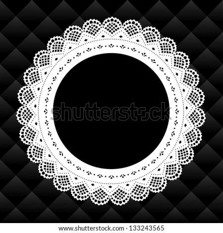 Lace Picture Frame, Vintage round doily with black diamond quilted background.  Copy space for pictures for albums, scrapbooks, holidays.  - stock photo