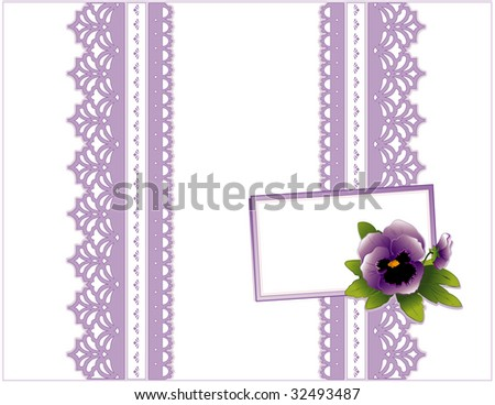 Lace Present, Victorian style, lavender on white background. Gift card with violet pansy garden flower, copy space to add your greeting for Mother's Day, birthdays, anniversaries, showers, weddings.