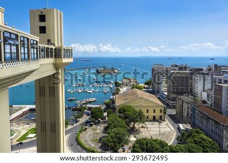 Lacerda Elevator and All Saints Bay (Baia de Todos os Santos) in Salvador, Bahia, Brazil. - stock photo