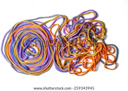 laces texture. wo lined boot laces on white background.  laces of different color isolated on white. Shoelaces. Multicolored shoelaces background - stock photo
